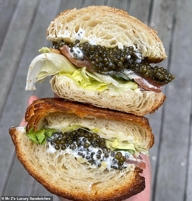 Andrea said he wants to deliver his quality treats for 'everybody to be able to afford' and is aiming for 'Michelin-star standard' with his sandwich joint (above, caviar-filled sandwich)