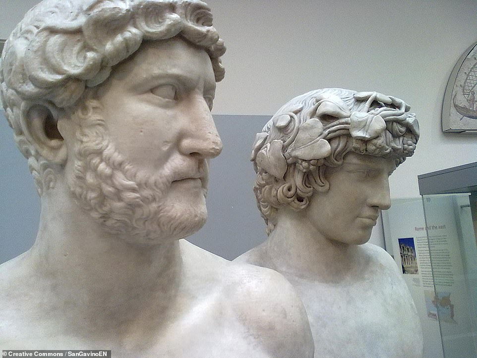 Pictured: busts of Emperor Hadrian and his lover, the Bithynian Greek youth Antinous, as seen in the British Museum. Following Antinous' death in the Nile, Hadrian founded a cult focussed around the young man — and is believed by some experts to have erected a temple in Antinous' honour in the grounds of the Villa Adriana