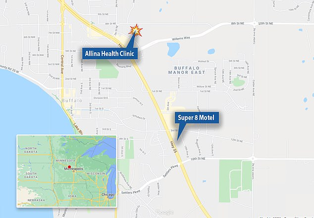 A map of the Allina Health Clinic which is just one mile from the Super 8 Motel where there were also reports of a possible explosive device