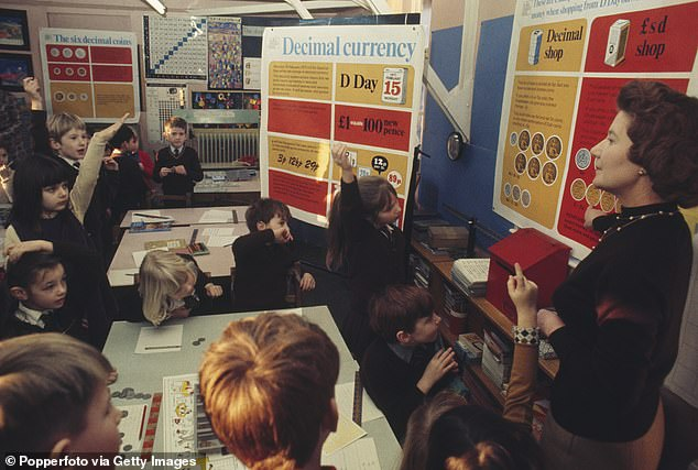 Adds up: Schoolchildren are taught about the new decimal currency in February 1971