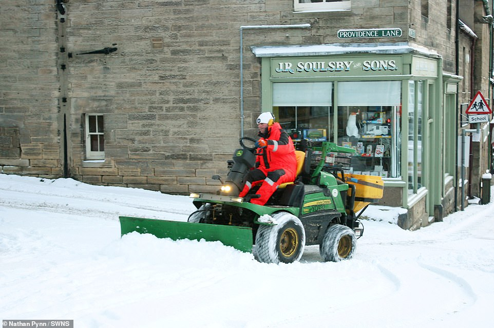 Heavy snowfall overnight in Rothbury, Northumberland. Bitter Baltic weather is continuing to bite across Britain, bringing nearly two feet of snow and the coldest night for more than a decade