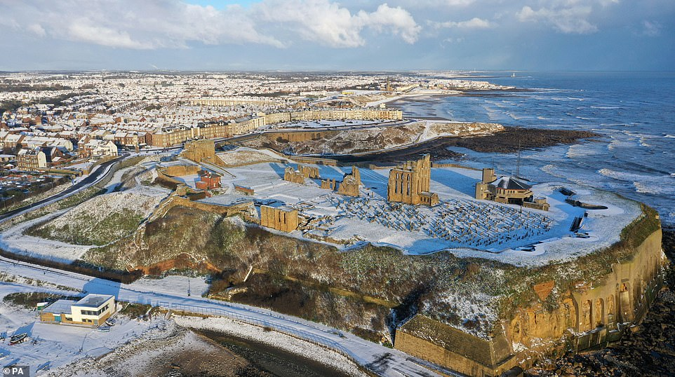 Snowfall over Tynemouth Priory. A change is in store for the weekend, with a low pressure system poised to bring in milder, southerly air to all parts of the country by Sunday