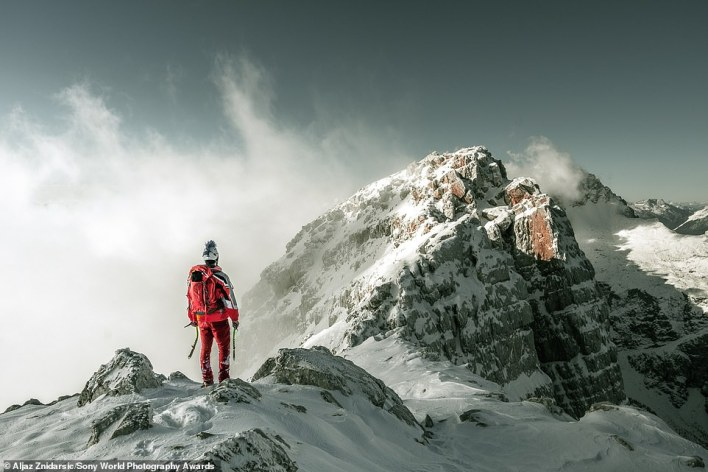 Slovenia's national award winner is Aljaz Znidarsic, who impressed the judges with this breathtaking shot of the Julian Alps. Aljaz says: 'My friend and I were on our first climb of the winter. We'd hoped to ascend three mountains on the same ridge, but because of the conditions, we had to turn back before the final peak. This image expresses the struggle we faced in deciding whether to turn round or continue'