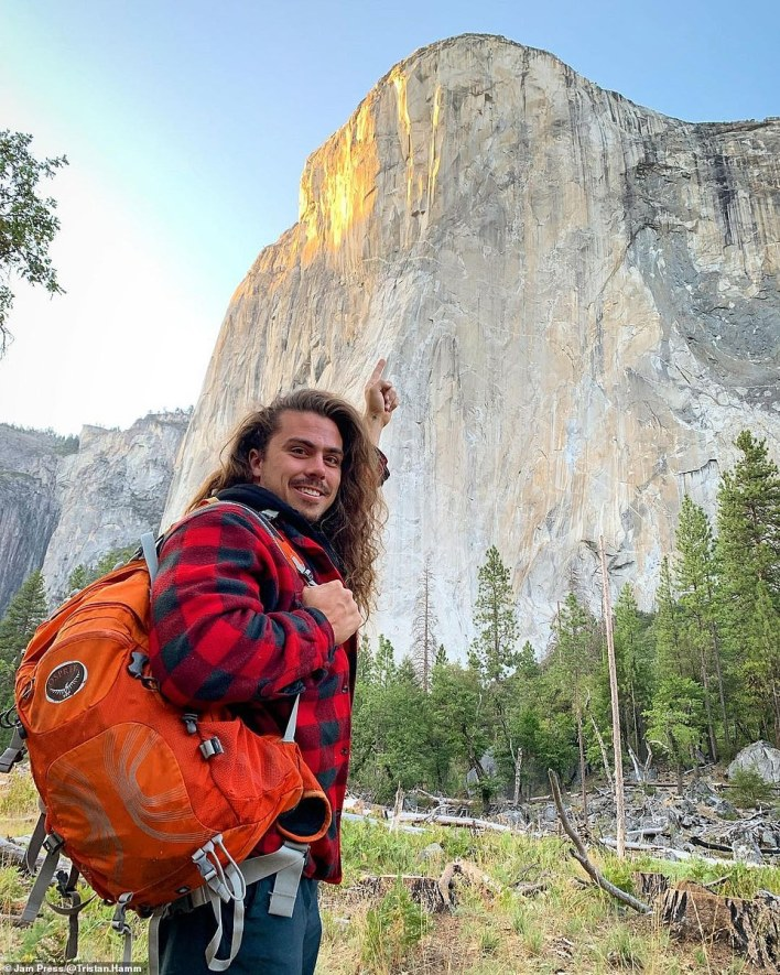 Tristan founded Revived Outdoors in 2016, offering adventure, entrepreneurship and wellness trips, successfully turning his passion for the healing power of travel and exploration into a career. He's pictured here beside the might El Capitan rock formation inYosemite National Park