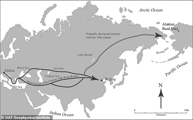 According to archaeologistMike Kunz, the beads could have traveled from Italy along the Silk Road to China then to Siberia and across the Bering Strait to Alaska