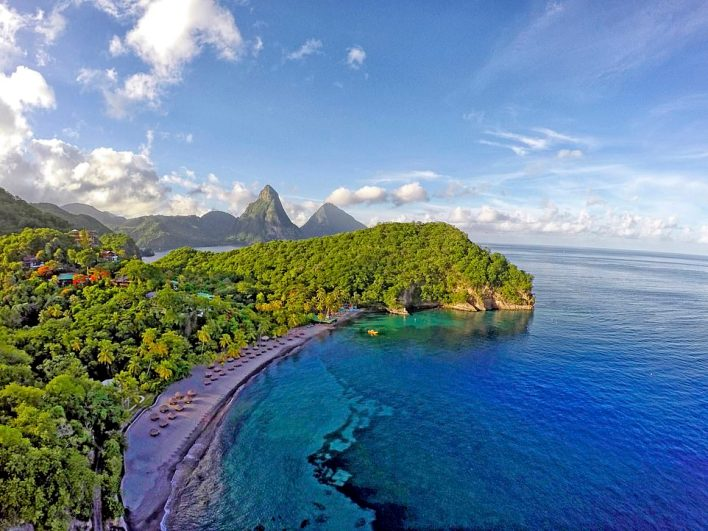 This stunning aerial shot shows the beach at Jade Mountain, where Giles and Monica serve drinks to guests