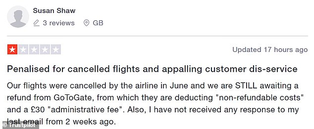This user said they were charged after their flights were cancelled with administrative fees