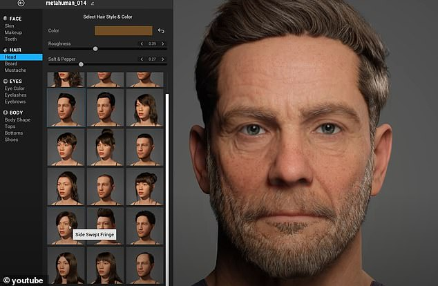 The systems lets users choose from a library of presets including 30 hairstyles and 18 different body types.Epic says that 'when you are happy with your human,' you can download the digital creation to use in films, video games and a variety of apps