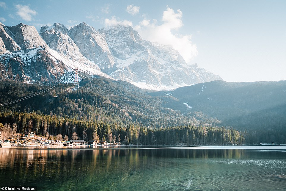 This breathtaking image shows a spring evening at Eibsee, a crystal-clear lake in Garmisch-Patenkirchen, around an hour south of Munich. The lake sits at the foot of Zugspitze - Germany's highest mountain at 9,718ft (2,962m)