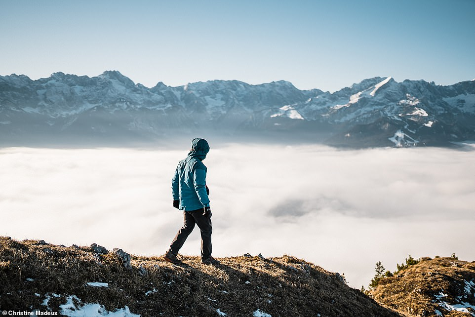 The incredible view of a cloud inversion taken from Mount Wank (yes, really) - a 5,840ft (1,780m) high peak in the Ester Mountains, a small range in the Bavarian Alps