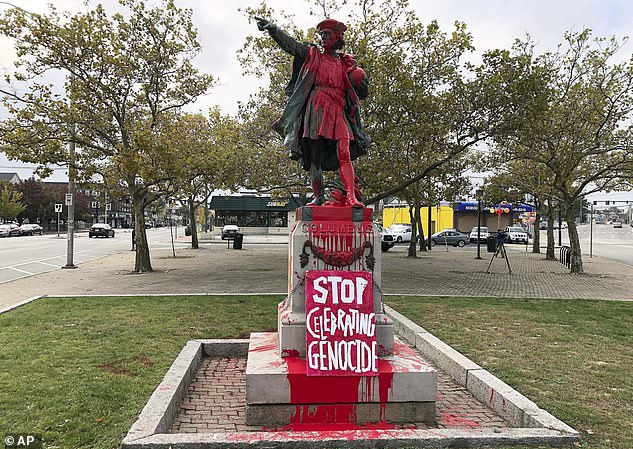 The statue of Christopher Columbus in Providence, Rhode Island, was vandalized (pictured above) on Columbus Day in November