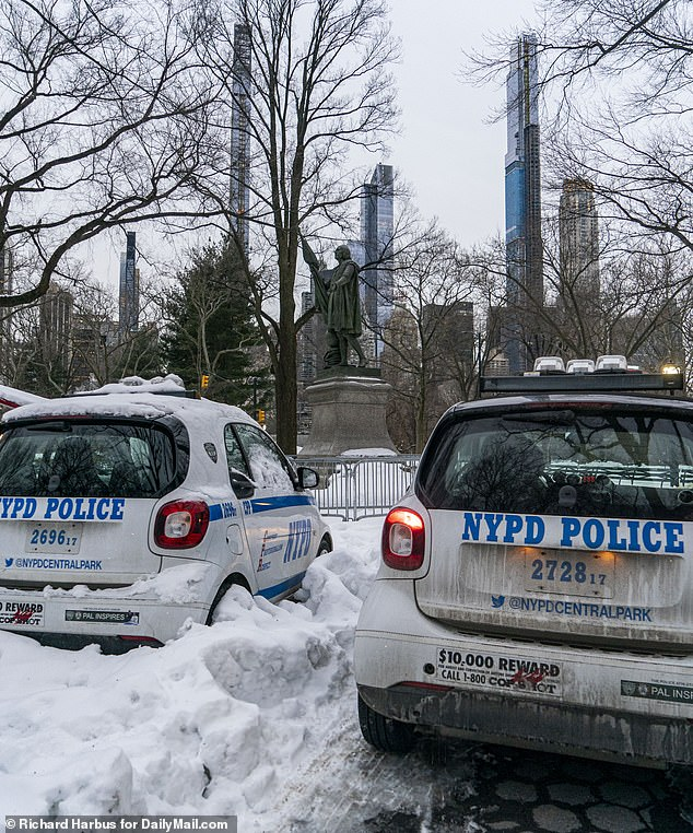 Some of the police vehicles in Central Park were snowed in after the recent cold weather in New York City