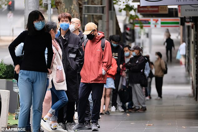 There were large queues for Covid-19 testing sites in Melbourne on Monday. More than 25,000 tests were processed in the 24 hours to midnight on Sunday