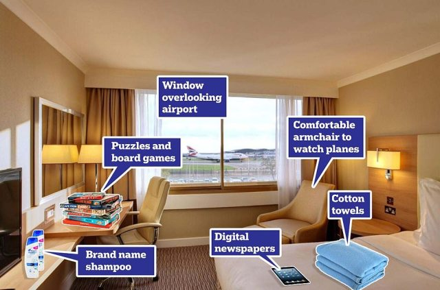 The Renaissance Hotel - which overlooks the Heathrow runway - is one of those open to quarantine travellers. Pictured is a graphic of some of the additions available for guests