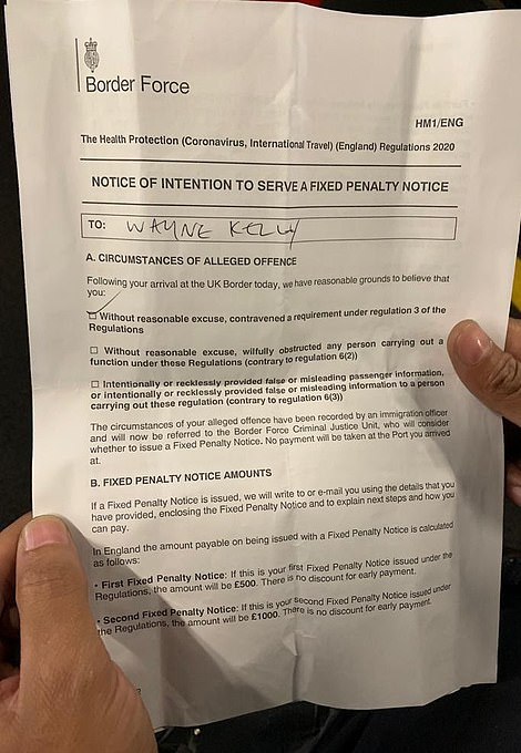 Mr Kelly, from Birmingham, said: 'I didn't know what this is all about and I still don't understand it. I came in from Dubai. I've now got a pay £1,750 to stay in a hotel'