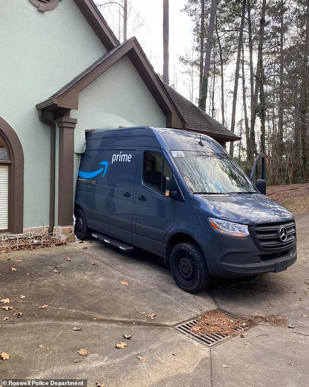 Roswell Police released a photo on Facebook of an Amazon delivery truck that accidentally crashed into the front door of a home in Georgia last week, after the parking brake was left off