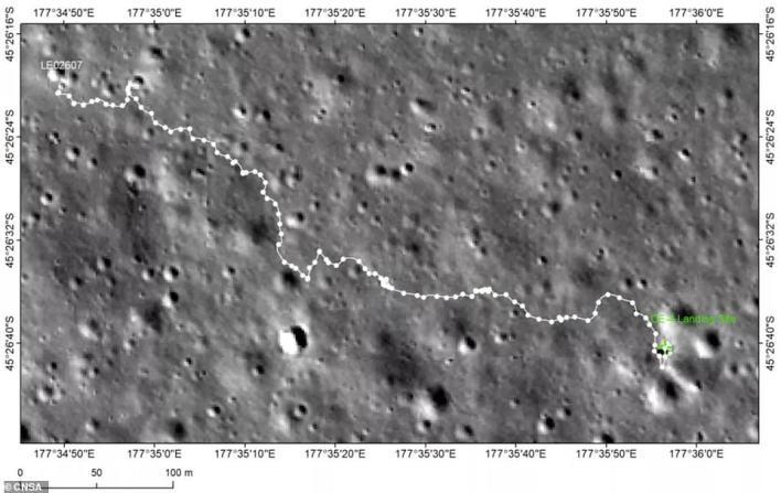 The rover has traveled 2,060 feet across the lunar surface since landing on January 3, 2019