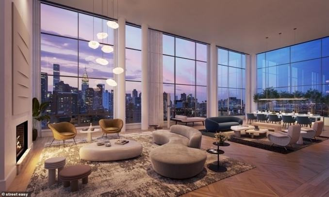 The unseasonably high tally from the week ended Sunday, February 14, was revealed in a report from Olshan Realty, which called it 'a spectacular number by any standard'. Pictured: The penthouse at The Tower at Gramercy Square