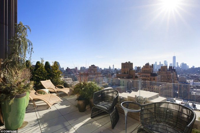 The Walker Tower duplex also features a 686-square-foot terrace (pictured)