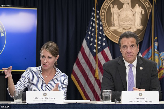 It came after Secretary to the Governor Melissa DeRosa (pictured left) reportedly said that Cuomo's administration had feared that the COVID-19 deaths in nursing home could 'be used against us' as the Justice Department investigates New York and three other states
