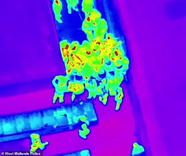 Thermal imaging from police drones captured revellers attempting to leave the venue near Birmingham's Jewellery Quarter via the roof in the early hours of Sunday
