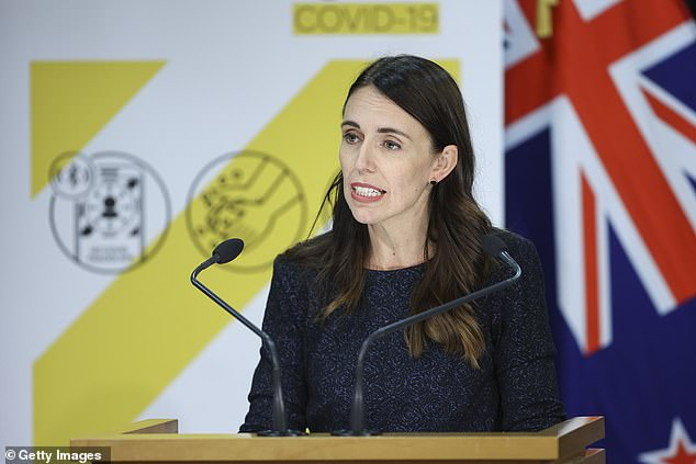 Prime Minister Jacinda Ardern speaks to media during a press conference at Parliament on February 15