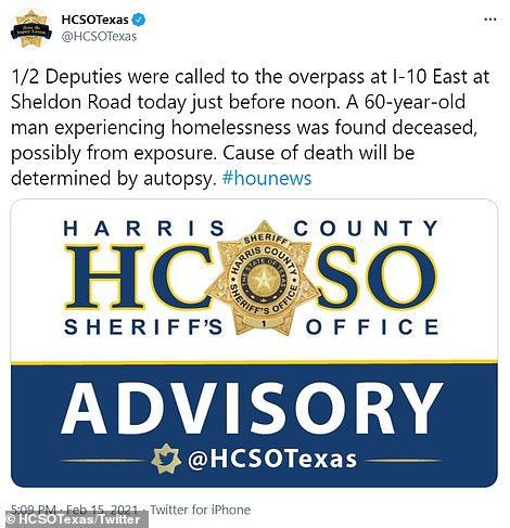 A 60-year-old homeless man in Houston who refused shelter and was later found dead at an overpass in east Harris County