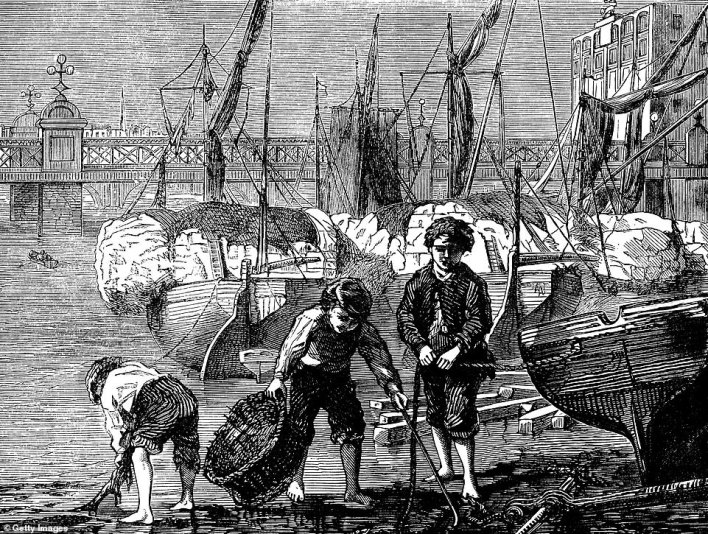 Mudlarking dates back centuries to when poorer people used to comb the Thames foreshore for anything valuable