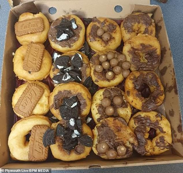 Toria Mackay's 'Lovers Donut' boxes from Fast & Fresh Hot Takeaway Food in Plymouth, Devon, which she ordered as a Valentine's and birthday gift for her boyfriend