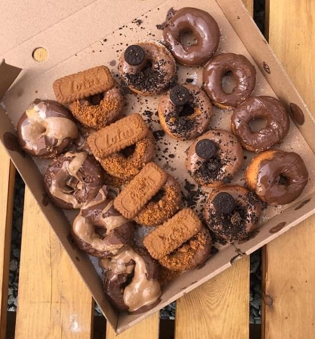 One of the company's doughnut boxes pictured in an advertisement online. Fast & Fresh Hot Takeaway Food said it has now rectified the situation and offered full refunds