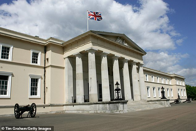 Hector Orrell, 21, was found to have lurked five times behind the woman's bed at the world famous Sandhurst military academy in Surrey (pictured)