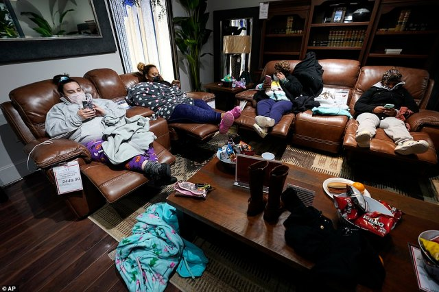 Houston, Texas: More than 4 million people in Texas still had no power a full day after historic snowfall and single-digit temperatures created a surge of demand for electricity to warm up homes unaccustomed to such extreme lows, buckling the state's power grid and causing widespread blackouts. Those without power inGallery Furniture on Tuesday