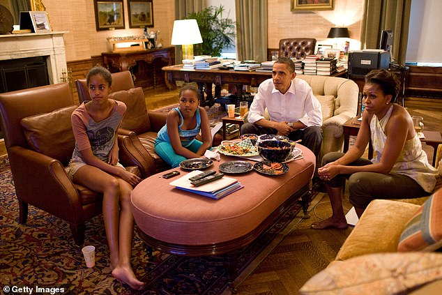 Biden also revealed that, despite eight years working with Obama and a close relationship, he had never been in the White House residence - abovePresident Barack Obama and first lady Michelle Obama with their daughters Sasha and Malia watch the World Cup soccer game between the U.S. and Japan in the White House residence in July 2011