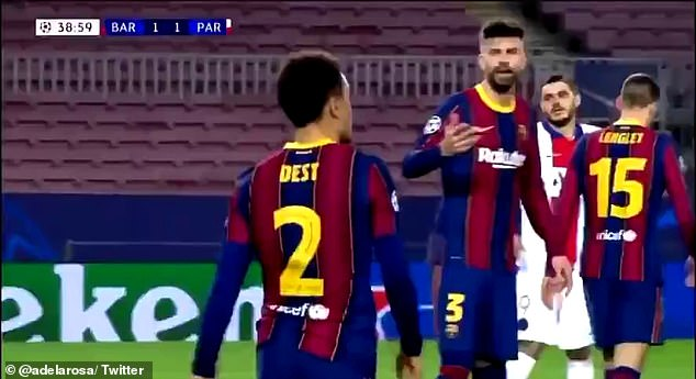 Pitchside microphones picked up Gerard Pique (right) exploding at Antoine Griezmann