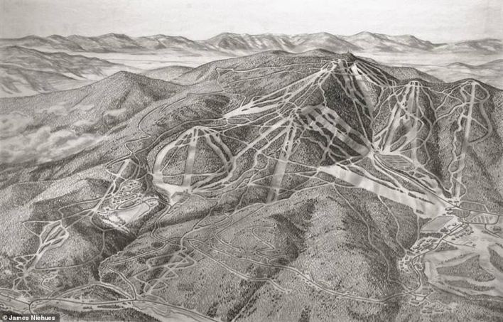 This 1990 sketch by Niehues shows Vermont's Killington ski resort. It remains one of the artist's favorite mountains to map