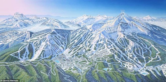Niehues has to incorporate 'marketing tilt' into his art, according to the book. For instance, some resorts object to background mountain detail, especially if the peaks belong to another resort. This map is of Big Sky in Montana