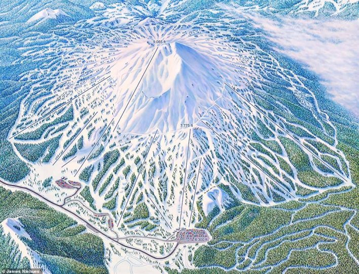 Adam White, Director of Communications Ski Vermont, said: 'You feel safe with Jim's map in your pocket. You trust him. He's got the trust of millions of people who ski and snowboard. It's magical. I've spent more time skiing with Jim than with anyone else in my life.' This map is of Mt Bachelor in Oregon, which Niehues created in 2019