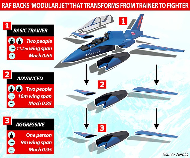The Royal Air Force has backed a British firm to develop a new aircraft that can be converted from basic trainer to aggressive fighter by swapping engines and wings