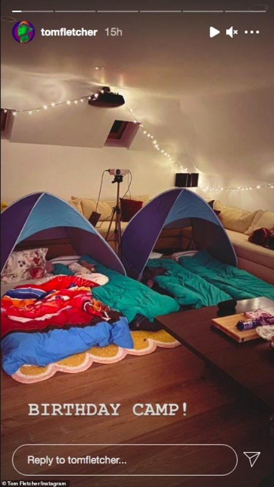 Birthday Party: The family continued the celebration by setting up an indoor camping tent adding fairy lights to create a cozy atmosphere