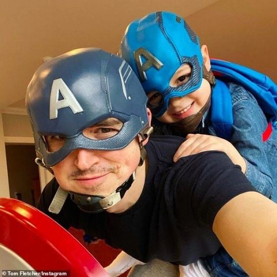 Like a father, like a son: Father Fletcher's father posted a great tribute to his son Buddy on Instagram on Tuesday as the family celebrated his fifth birthday dressed as Captain America