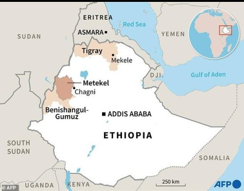 Map showing the Tigray and Benishangul-Gumuz regions of Ethiopia