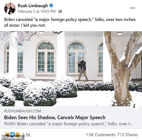 In his final Facebook post that linked to segments of his last broadcast n February 2, Limbaugh took aim at Biden for canceling a 'major foreign policy speech' because of two inches of snow