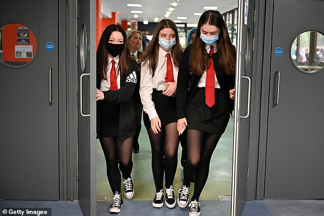 Secondary pupils will reportedly have to wear masks when not in their class 'bubbles' once schools reopen (file photo)