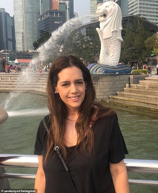 The 41-year-old sales manager (pictured on holiday in Singapore) was devastated to be diagnosed with an aggressive form of breast cancer just one month later