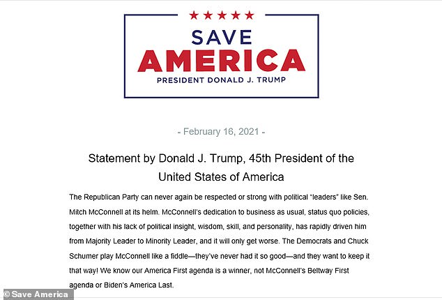 In his Tuesday statement, issued through his Save America PAC, Trump delivered a number of stunning personal attacks on McConnell, accusing him of 'destroying' the GOP and urging the party's senators to end his leadership