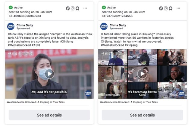 Two more adverts boosted on Facebook by China Daily for small fees to downplay concerns about Xinjiang. These adverts were later removed by Facebook but not before they reached millions of users