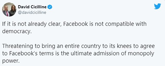 Fury at the move quickly went international, with US politician DAvid Cicilline saying the site is 'not compatible with democracy'