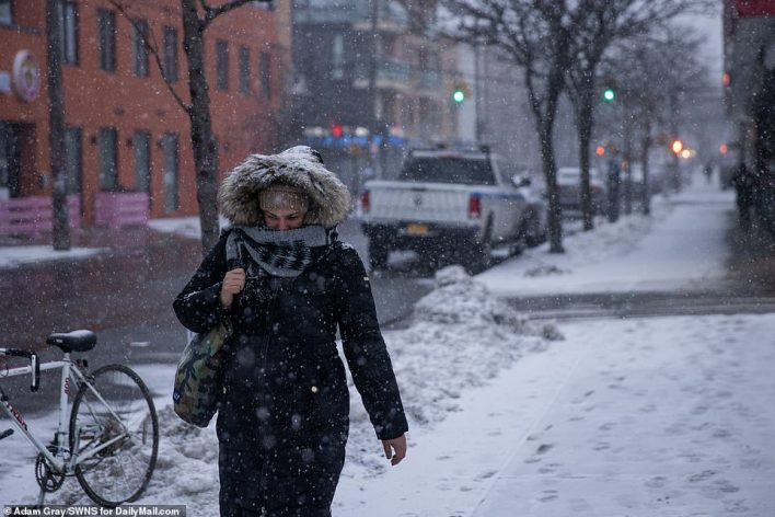 BROOKLYN, NEW YORK: A woman was seen wrapped up tightly Thursday morning as she walked through fresh snow that had started falling early