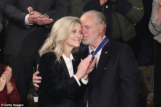 Reports say widow Kathryn will inherit the home after his death Wednesday. They are pictured together in February 2020 after Limbaugh received thePresidential Medal of Freedom