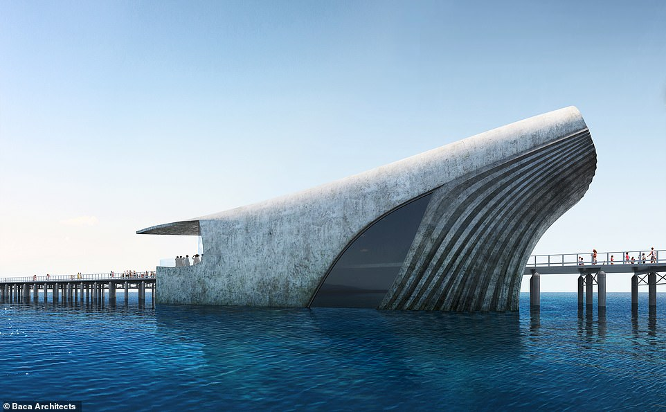 A rendering showing the amazing whale-shaped marine observatory that will be built at the end of Busselton Jetty in Geographe Bay, Western Australia